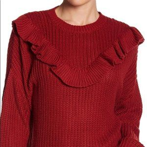 BLANK NYC Poppy Ruffle Knit Sweater NWT S
